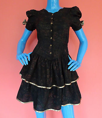 Girls 16 Vintage 1980's Ruffle Dress Party Photo Gold Metallic Accents USA Made