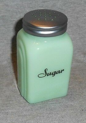 Jadeite Green Glass Sugar Shaker Arched Sides Black Script Lettering Range Table