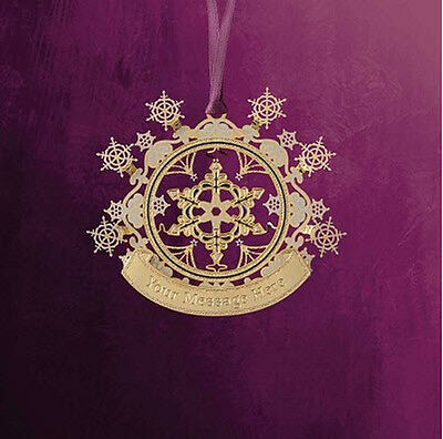 New ChemArt Engraveable Dazzling Snowflake 24K gold ovr Brass Christmas Ornament