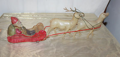Vintage Celluloid Santa in Sleigh 2 Reindeer Germany 1920s