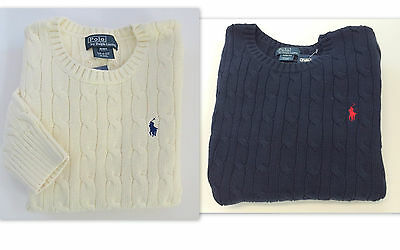 POLO RALPH LAUREN Boys Sweater Size 8 Kids Small Cable Long Sleeve Pullover NEW