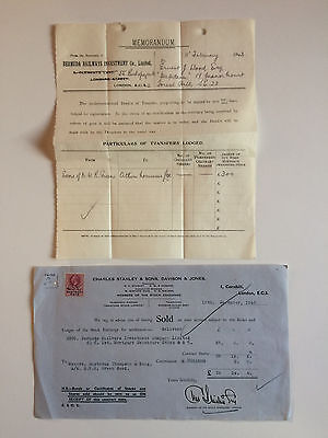Bermuda Railways Investment Co Memorandum & Stock Exchange Contract - 1942/43