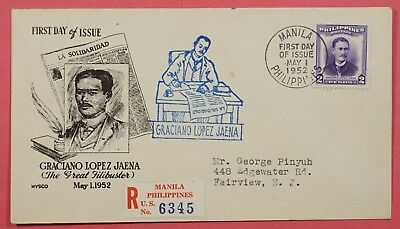 1952 Philippines #601 Jaena Fdc Cover Mysco Cachet Registered