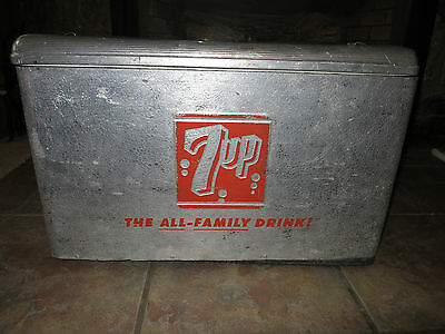 Vintage Aluminum 7UP Cooler. Rare Version With Polystyrene Insulation Lining