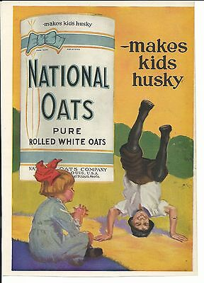 NATIONAL OATS OAT BOX + KIDS PLAYING GRAPHIC AD EAST ST LOUIS + PEORIA 1920s