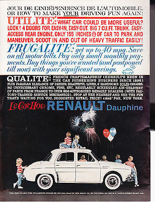 Original Print Ad-1959 Le Car Hot: RENAULT-Dauphine-Kids watching Fireworks-USA