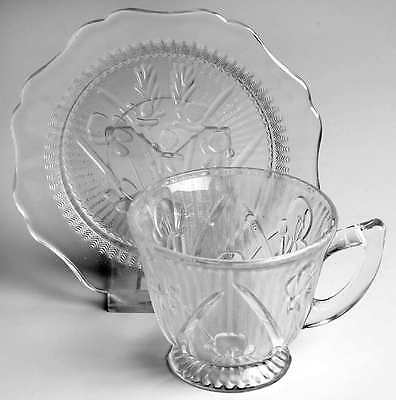 Jeannette Glass IRIS CLEAR Cup & Saucer 286143