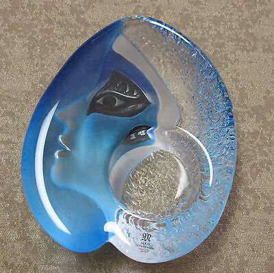 Mats Jonnason Athena Blue Crystal Candle votive abstract Sweden with label