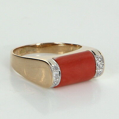 Coral Diamond Stacking Ring Vintage 14k Yellow Gold Estate Fine Jewelry Heirloom