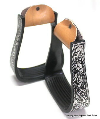 D.A. Brand Black Aluminum Engraved Pleasure Stirrups w/ Rubber Treads Horse Tack
