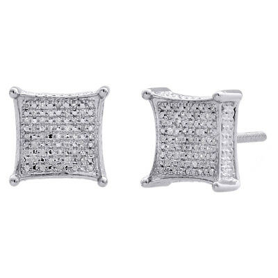 Diamond 3D Kite Shape 4-Prong Earrings Sterling Silver 10.50mm Pave Studs 1/4 CT