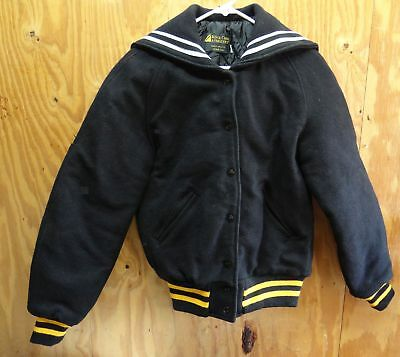 Rock Creek Varsity / Cheer Jacket Black / Yellow & White - Made In Usa - Small