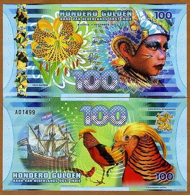 Netherlands East Indies (Indonesia), 100 Gulden, 2016 Polymer, UNC   Boy