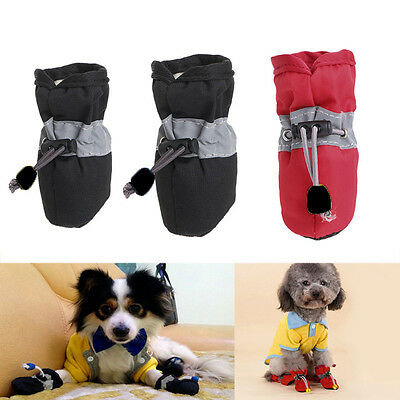 4Pcs Puppy Pet Dog Cat Rain Protective Boots Waterproof Anti-Skid Shoes Booties
