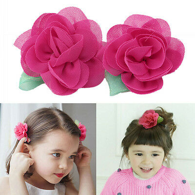 2pcs Kids Girls Beauty Chiffon Flower Barrettes Hairpins Hair Clip Accessories