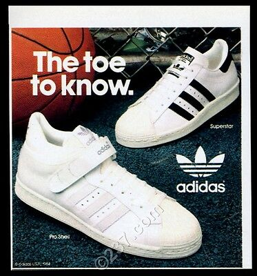 1984 Adidas Superstar Pro Shell tennis shoes photo vintage print ad