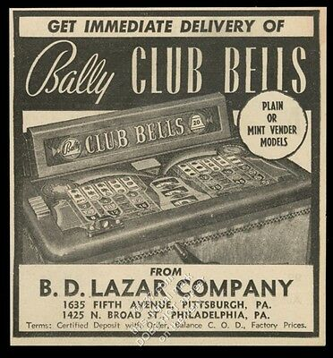 1942 Bally Club Bells console slot machine photo vintage trade print ad