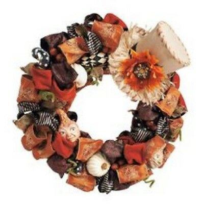 Grandinroad Harvest Grourds Wreath - Fall-Thanksgiving, Fabric, Multi-Color