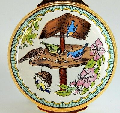 HALCYON Hinged Box - Enamel Over Copper - Birds in the Feeder, Flowers