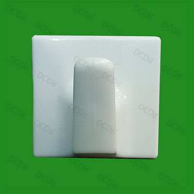 2x White Plastic Self Adhesive Stick On Hooks for Clothes, Towel Coat etc Hanger