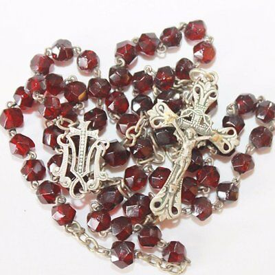 Antique Red Faceted Glass Faceted Beads Rosary, Marial Emblem