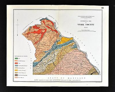 1878 Geological Map - York County Pennsylvania - by Lesley Geology Survey PA