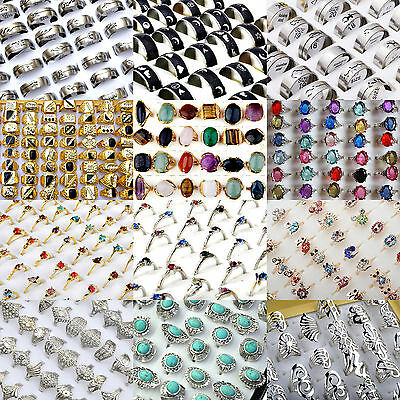 10/20Pcs Lots Wholesale Jewelery Bulks Mixed Silver Gold Plated Crystal Rings NT