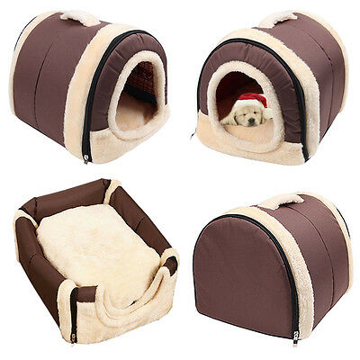 Pet Dog Bed House Kennel Mat Pad Portable 2 in 1 Washable Puppy Cat Cushion Tent
