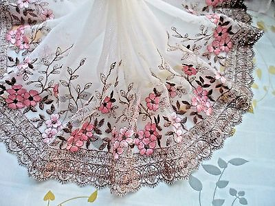 """1Y~8""""~ Pink Brown Venise Embroidered Lace Trim Tulle Flower Bunch Wedding Dress"""