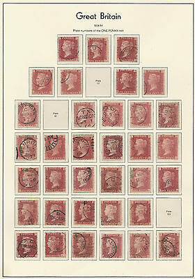 1864/1879 SG43/44 1d Rose/Lake Red Superb CDS plate collection 71 - 225
