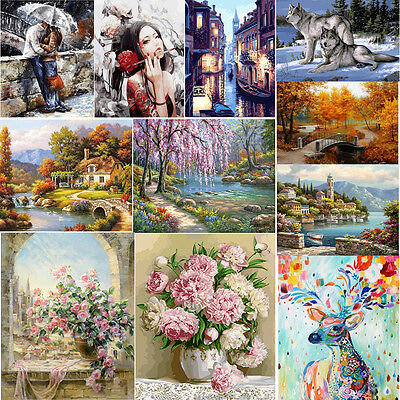 DIY Digital Oil Painting Kit Paint by Numbers on Canvas Scenery Home Decor