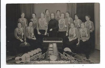 Salvation Army Band 1935 Women Songster Brigade Sweden real photo postcard