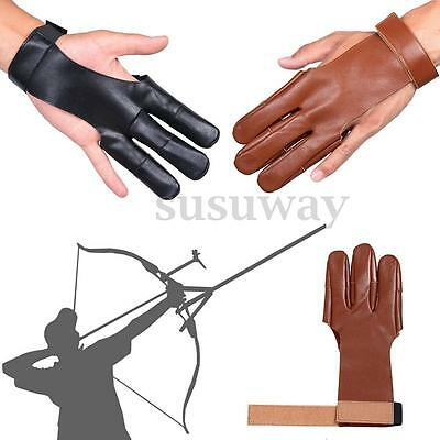 New 3 Protect Archery  Fingers Glove Pull Bow Arrow Cow Leather Shooting Gloves