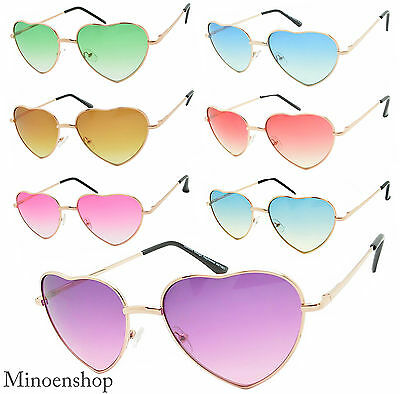 Ladies Heart Shape Sunglasses Gold Boho Festival Lolita Style Fancy Dress Party