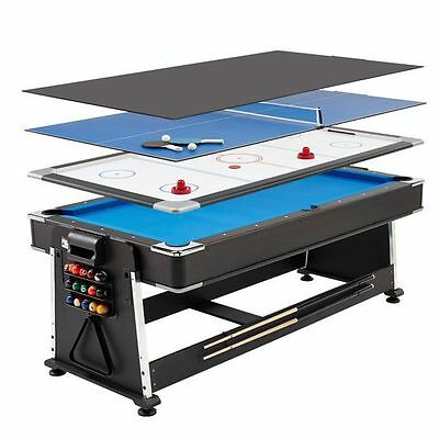 Mightymast 7ft Revolver 3-in-1 Pool Air Hockey Table Tennis Multigames Table
