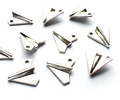 10 x 18mm Quality Silver Plated Paper Plane Airplane Charms, Vintage Pendants