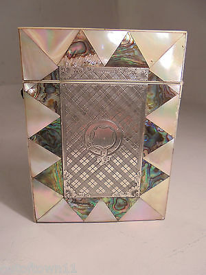 Antique Abalone & Mother of Pearl Card Case & Silver   ref 908