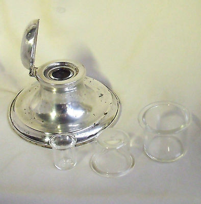 CHOICE OF REPLACEMENT GLASS LARGE INK LINER INSERTS ~ Liners for Silver Inkwells