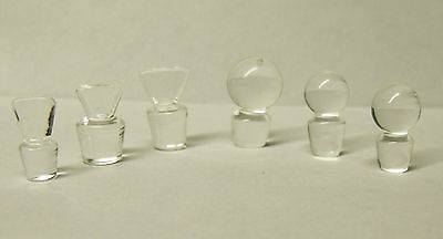 6 Assorted Glass Ball & Chisel Stoppers Antique Small Perfume / Scent Bottles