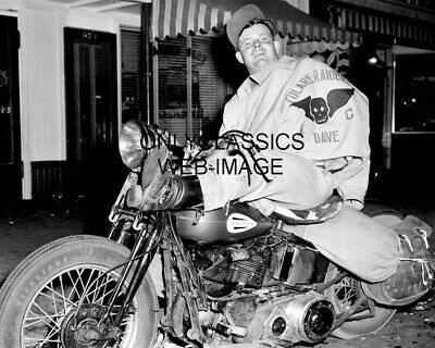 1947 Cool Tough Guy On Harley Davidson Motorcycle Raider Gang Photo Hollister Ca