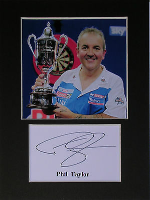 Phil Taylor darts photo print mounted 8x6 signed printed autograph gift display