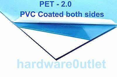 CLEAR PET Sheet x 2.0 mm Thick x 21 Popular Pre Cut Sizes Guillotine Cut