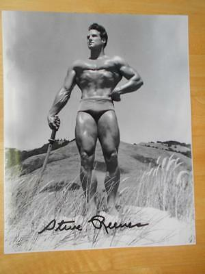 "Bodybuilder STEVE REEVES muscle SIGNED posing 8"" x 10"" photo AUTOGRAPHED"