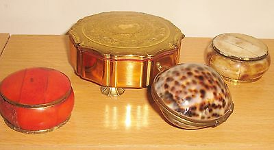 Four  Vintage Hand Crafted Brass Detailed Trinket Pots, Shell Round Shaped Boxes