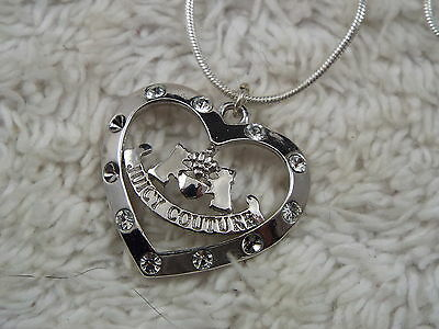 Silvertone Juicy Couture Rhinestone Heart Pendant Necklace (A12)