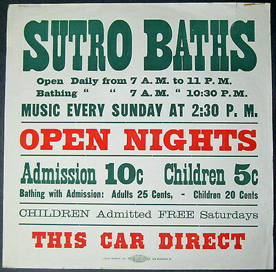"SUTRO BATHS~RARE ORIGINAL 17"" x 17"" ANTIQUE 1898 SAN FRANCISCO STREETCAR POSTER"