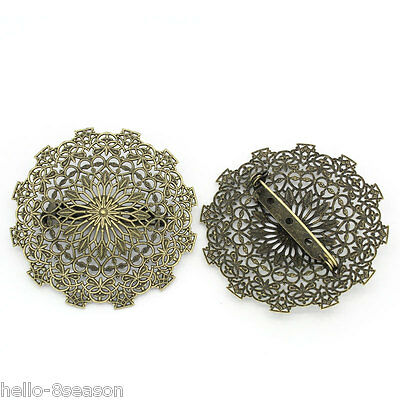 5PCs Bronze Tone Round Cabochon Setting Brooches Hollow Flower