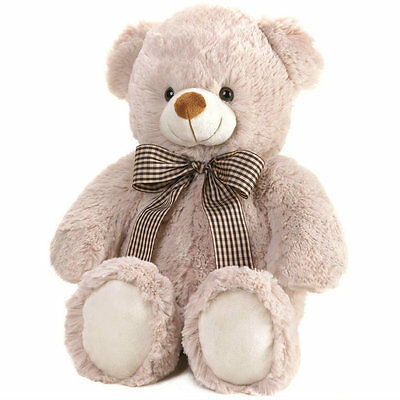 "Cuddly Soft 18"" Buddy Teddy Bear Plush with Bow Beige Valentine's Mother's Day"