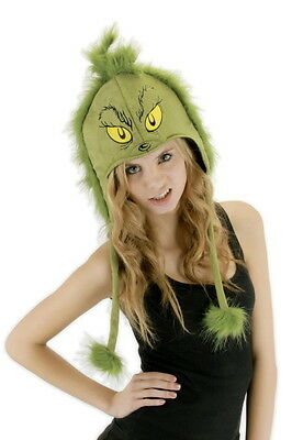 Dr. Seuss How The Grinch Stole Christmas Grinch Laplander Hoodie Hat, NEW UNWORN