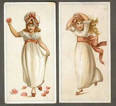Young VICTORIAN GIRLS Dressed in White - 2 Cards 1880's - Pink Sashes